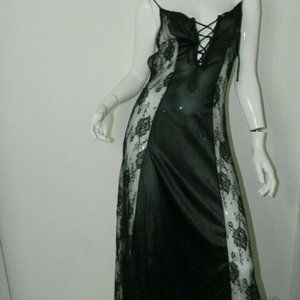 Nightgown Black Lace Side Panels Nylon Sexy Small